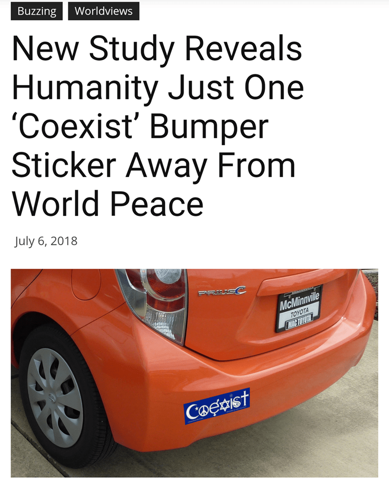 meme about bumper stickers being a meaningless act of slacktivism and passive activism