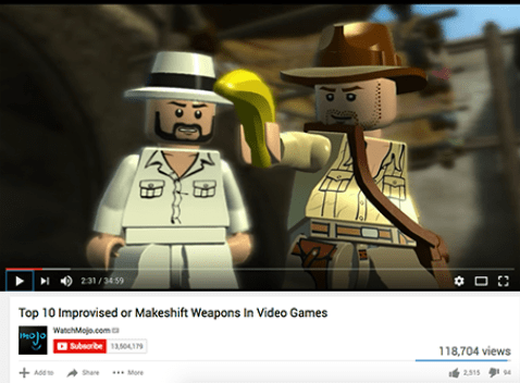 fake YouTube list meme about Lego banana being a weapon in a video game