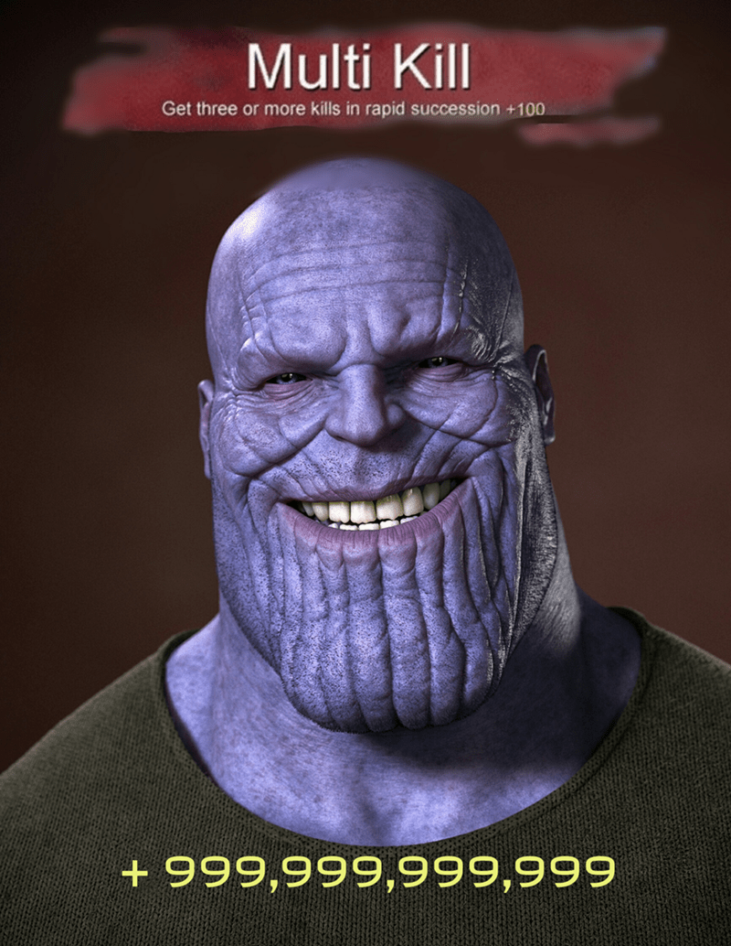 meme about Thanos achieving multi kill achievement in video game