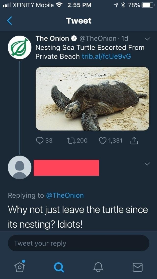Sea turtle - lXFINITY Mobile 1 78% 2:55 PM Tweet The Onion @TheOnion 1d Nesting Sea Turtle Escorted From Private Beach trib.al/fcUe9vG t200 33 1,331 Replying to @TheOnion Why not just leave the turtle since its nesting? Idiots! Tweet your reply Σ