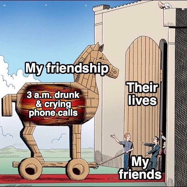 Cartoon - My friendship Their lives 3 a.m.drunk & crying phone.calls Worst My friends