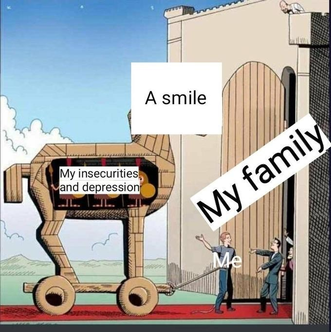 Cartoon - A smile My insecurities and depression My family Me