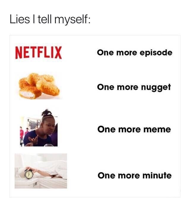 Text - Lies I tell myself: NETFLIX One more episode One more nugget One more meme One more minute