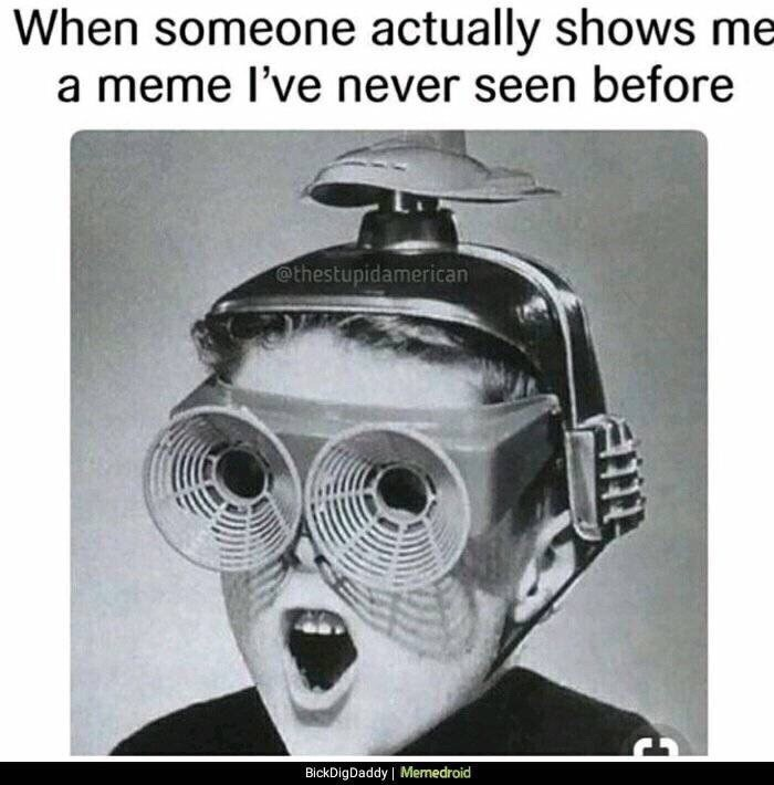 Eyewear - When someone actually shows me a meme l've never seen before @thestupidamerican BickDigDaddy Memedroid