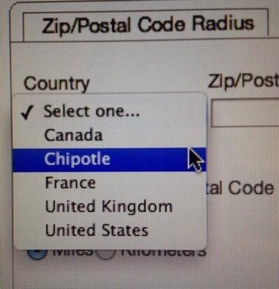 Text - Zip/Postal Code Radius Zip/Post Country Select one... Canada Chipotle France tal Code United Kingdom United States TYHICS