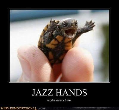 turtles meme - Reptile - JAZZ HANDS works every time. VERY DEMOTIVATIONAL.com