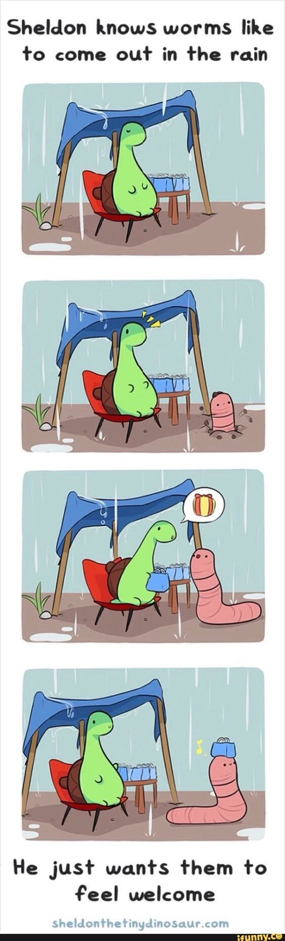 Clip art - Sheldon knows worms like to come out in the rain He just wants them to feel welcome sheldonthetinydinosaur.com ifunny.co