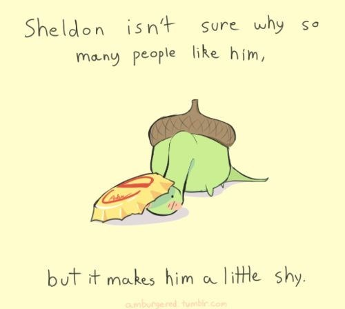 Text - Sheldon isn't Sure why So many people like him, litle shy. but it makes him a