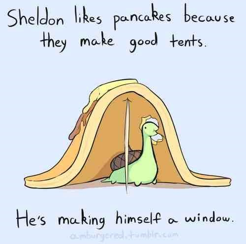Text - Sheldon ikes pancakes because they make good tents He's making himself mburgered window