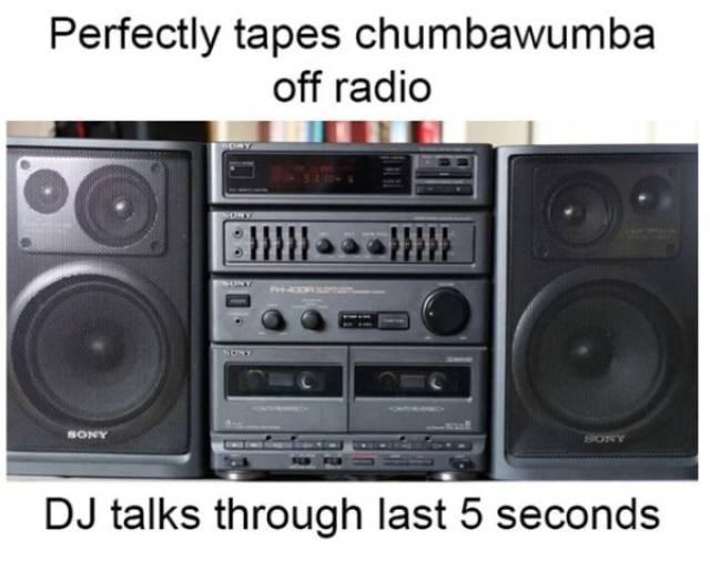 Boombox - Perfectly tapes chumbawumba off radio ЕИИ SONY SONY DJ talks through last 5 seconds