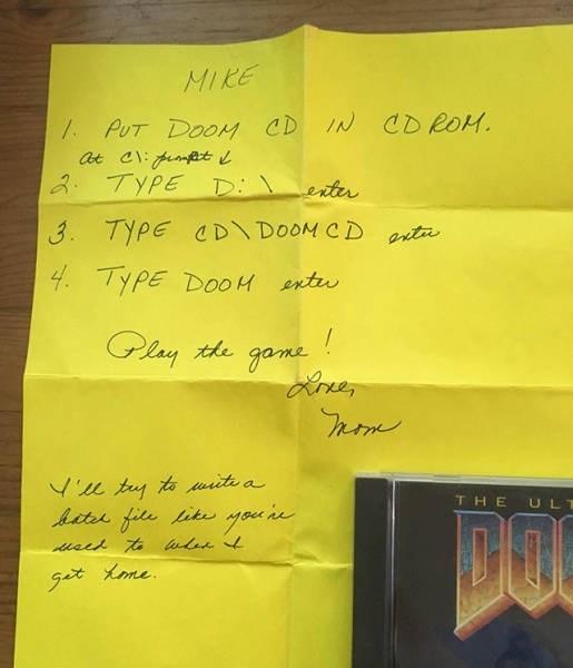 Text - MIKE PUT DOOM CD IN CD ROM. TYPE D erter 3. TYPE CD\DOOM CD arta 4 TYPE D00H ntu the gane Hree Vu ty to urte a te fite iyoue THE ULT