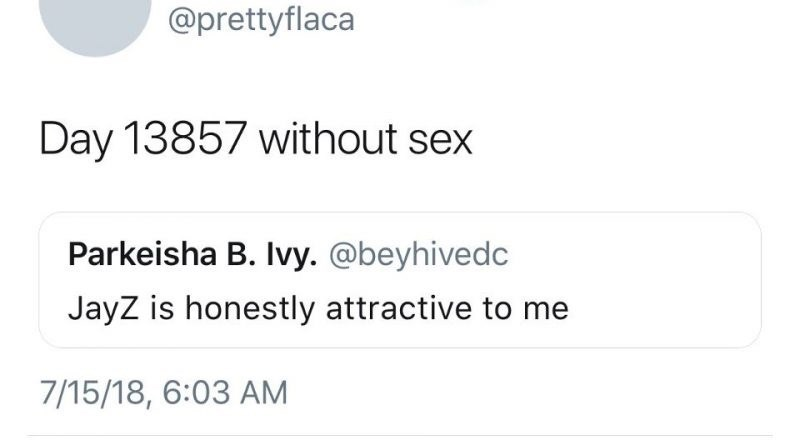 celibacy meme - Text - @prettyflaca Day 13857 without sex Parkeisha B. Ivy. @beyhivedc JayZ is honestly attractive to me 7/15/18, 6:03 AM