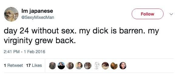 celibacy meme - Text - Im japanese Follow @SexyMixedMan day 24 without sex. my dick is barren. my virginity grew back 2:41 PM 1 Feb 2016 1 Retweet 17 Likes