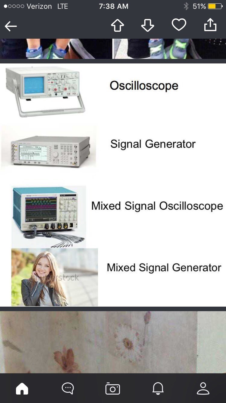 Product - 0000 Verizon LTE 51% 7:38 AM Oscilloscope Signal Generator Mixed Signal Oscilloscope Mixed Signal Generator uderstock