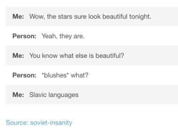 "Text - Me: Wow, the stars sure look beautiful tonight Person: Yeah, they are. Me: You know what else is beautiful? Person: ""blushes what? Me: Slavic languages Source: soviet-insanity"