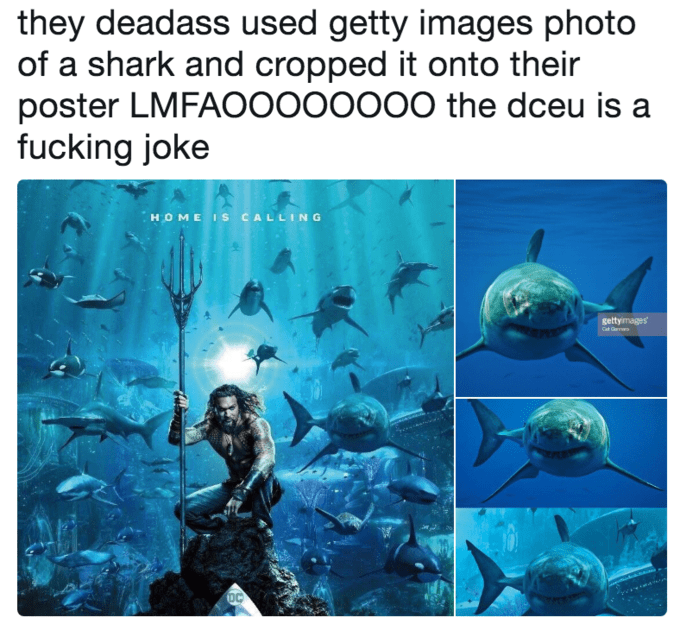 Organism - they deadass used getty images photo of a shark and cropped it onto their poster LMFAO0000000 the dceu is a fucking joke HOME Is CALLING gettymages e DC