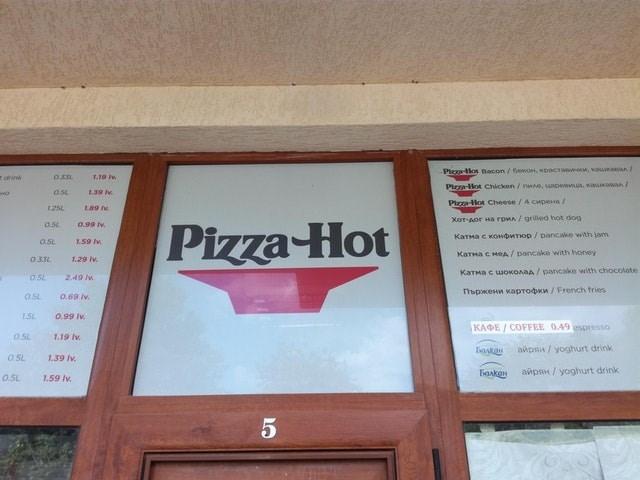 Text - Pizza-llot Bacon /6ewOm, KpacTawoon, vauwanan/ 1.19 Iv r drink Pizza-Hot Chicken/ nAD, upemwua, wauawaA L39 Iv asL Poa-Hot Cheese/ 4 cwpena / 1.25L 109 Iv XOT-Aor Ha rpMA/ grilled hot dog osL o.99 ly Pizza Hot KaTMa c KOwdMTIOp / pancake with jam 1.59 Iv 0.5L KaTHa C HeA/ pancake with honey O33L 1.29 Iv KaTHa c woKOAaA/pancake with chocolate 0.5L 2.49 lv opweHn KapTodKn/French fries 0.69 iv 05L 1.5L 0.99 Iv KA E/ COFFEE 0.49spresso 0.5L 1.19 Iv anpan/yoghurt drink 0.5L 7.39 Iv anps/yoghur