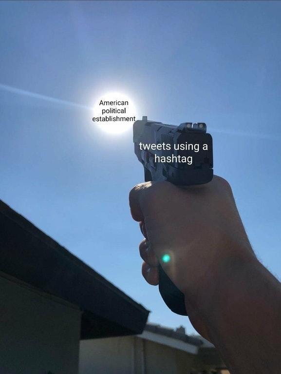 "The sun represents the American political establishment and the gun represents ""tweets using a hashtag"""
