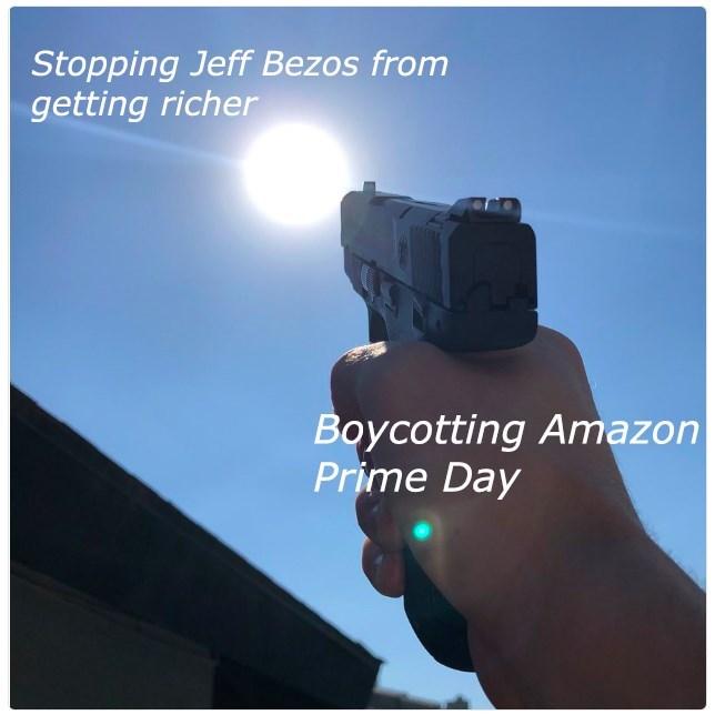 "The sun represents ""Jeff Bezos getting richer"" and the gun represents ""Boycotting Amazon Prime Day"""