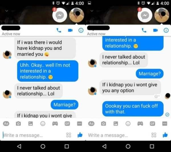 Creepy text message conversation where the guy threatens to kidnap and marry the recipient