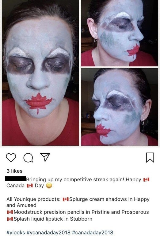 Face - 3 likes Bringing up my competitive streak again! Happy l Canada Day All Younique products: ISplurge cream shadows in Happy and Amused IMoodstruck precision pencils in Pristine and Prosperous ISplash liquid lipstick in Stubborn #ylooks #ycanadaday2018 #canadaday2018