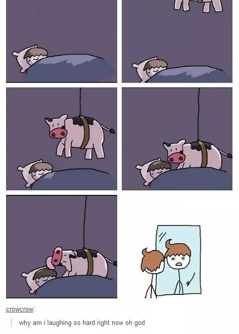 Comic about a cow coming down at night to lick someone's hair, thus giving them a 'cowlick'