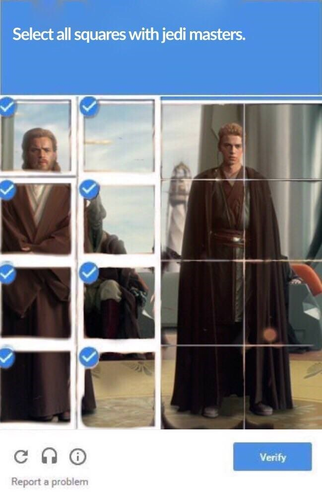 star wars meme - Outerwear - Select all squares with jedi masters. Verify Report a problem