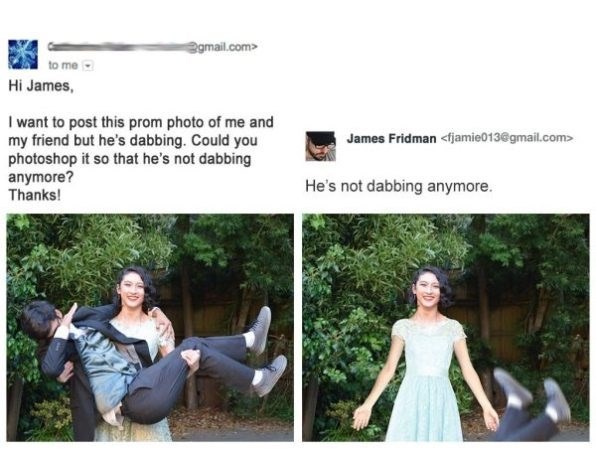 Photograph - gmail.com> to me Hi James, I want to post this prom photo of me and my friend but he's dabbing. Could you photoshop it so that he's not dabbing anymore? Thanks! James Fridman <fjamie013@gmail.com> He's not dabbing anymore