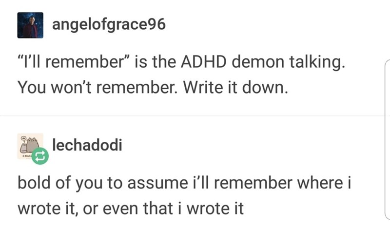 "meme - Text - angelofgrace96 ""I'll remember"" is the ADHD demon talking You won't remember. Write it down. lechadodi bold of you to assume i'll remember where i wrote it, or even that i wrote it"