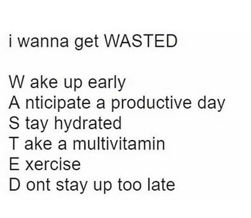 water meme - Text - i wanna get WASTED W ake up early A nticipate a productive day S tay hydrated T ake a multivitamin E xercise D ont stay up too late