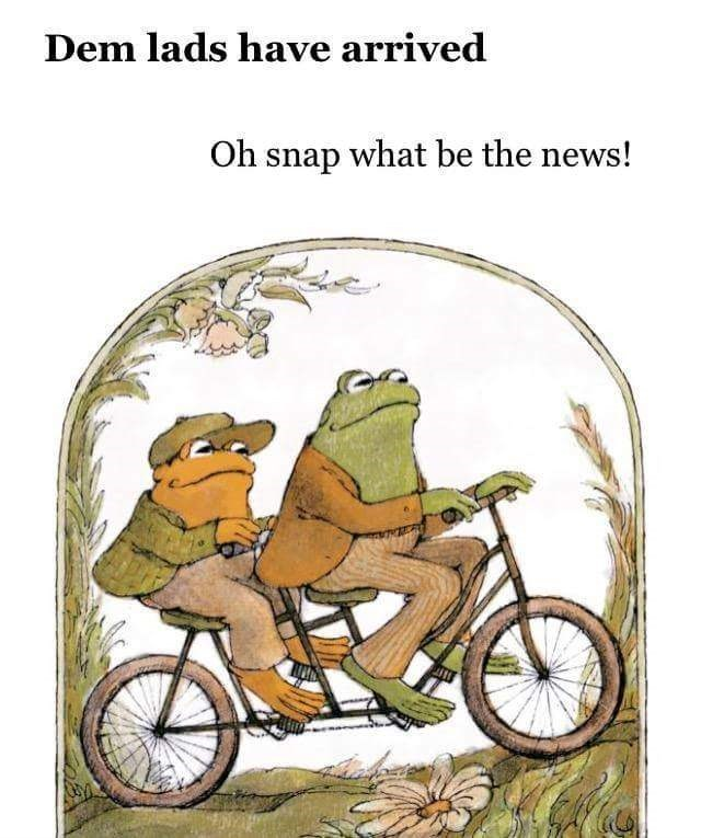 "Children's book picture of two frog on a bike with the caption, ""Dem lads have arrived; Oh snap what be the news!"""