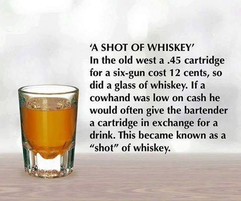 """Drink - 'A SHOT OF WHISKEY In the old west a .45 cartridge for a six-gun cost 12 cents, so did a glass of whiskey. If a cowhand was low on cash he would often give the bartender a cartridge in exchange for a drink. This became known as a """"shot"""" of whiskey"""