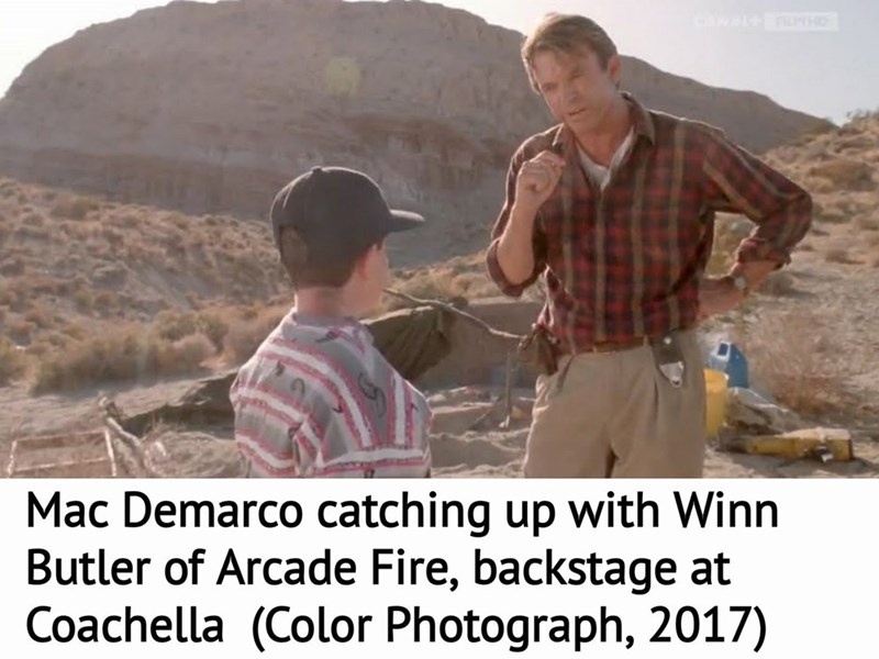music meme - Adaptation - Mac Demarco catching up with Winn Butler of Arcade Fire, backstage at Coachella (Color Photograph, 2017)