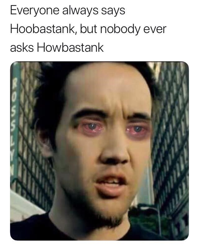 music meme - Face - Everyone always says Hoobastank, but nobody ever asks Howbastank
