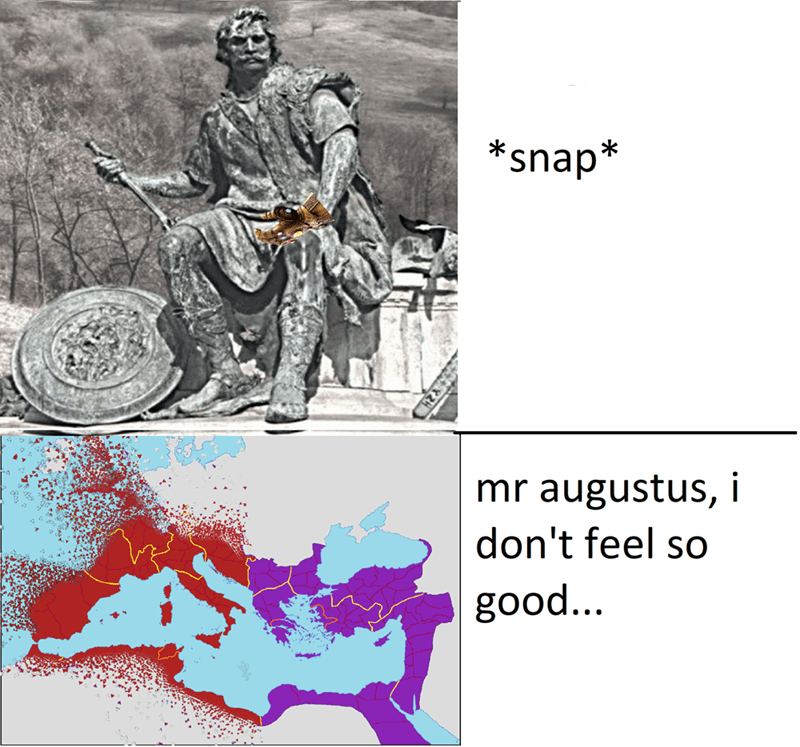 """Statue of Augustus, showing Europe disintegrating below and the caption, """"Mr. Augustus, I don't feel so good"""""""