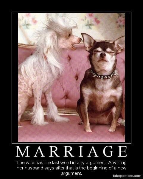 Dog breed - MARRIAGE The wife has the last word in any argument. Anything her husband says after that is the beginning of a new argument. fakeposters.com