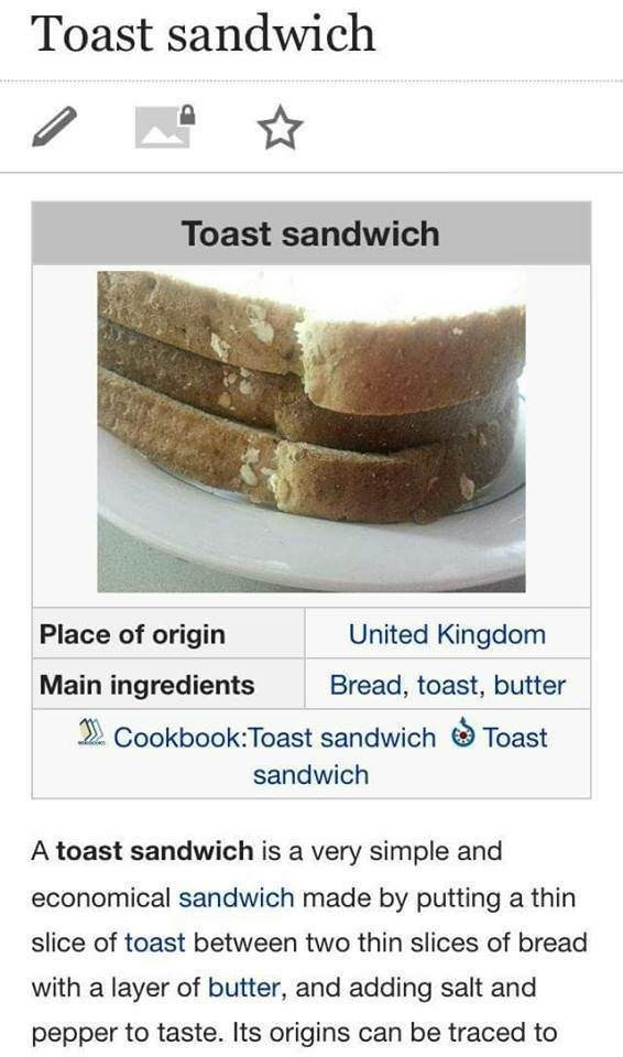 "Wikipedia entry explaining what a ""toast sandwich"" is"