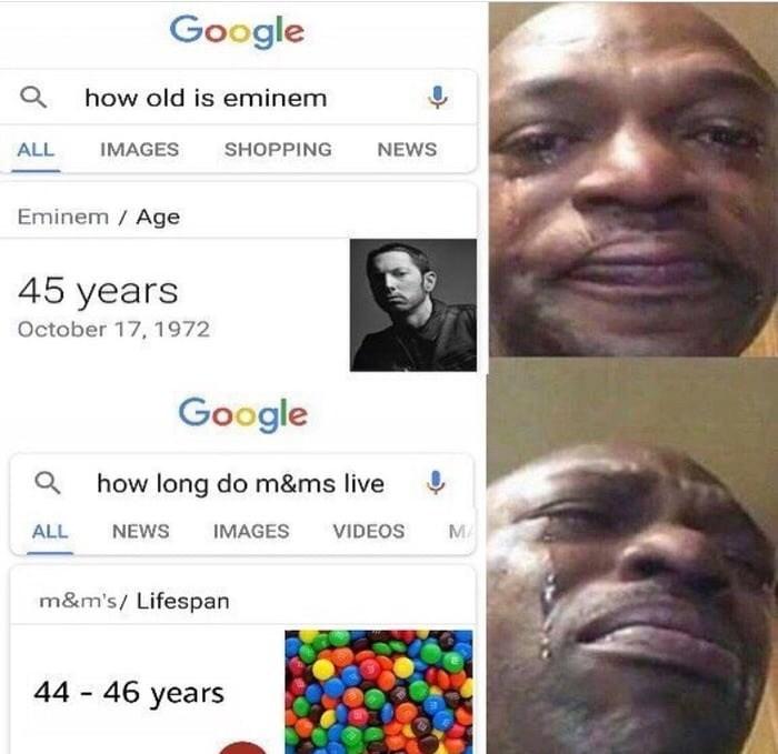 meme about discovering how long rapper Eminem has left to live