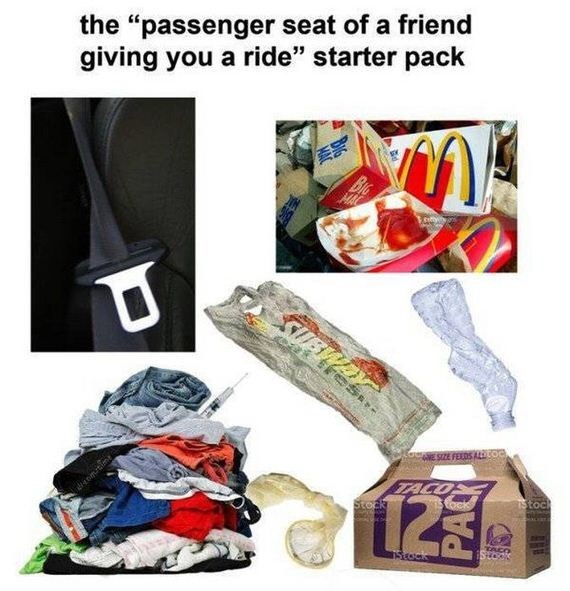 starter pack meme for your friend's dirty car