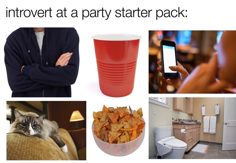 starter pack meme for unsociable people at parties