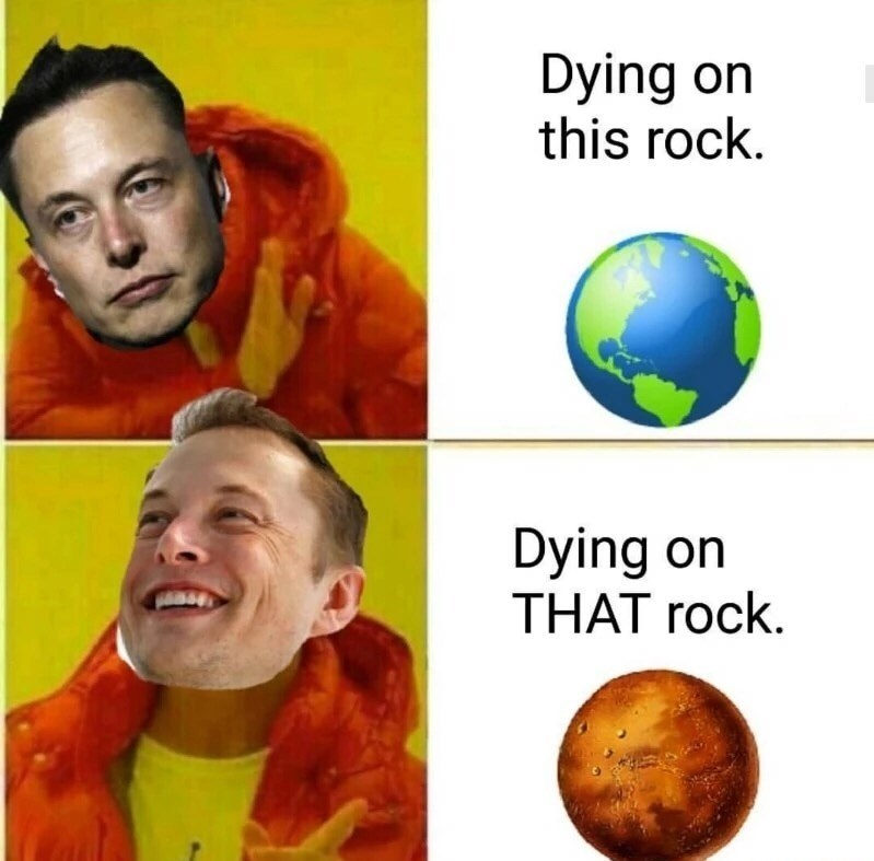 Drake Hotline meme about Elon Musk wanting to travel to Mars