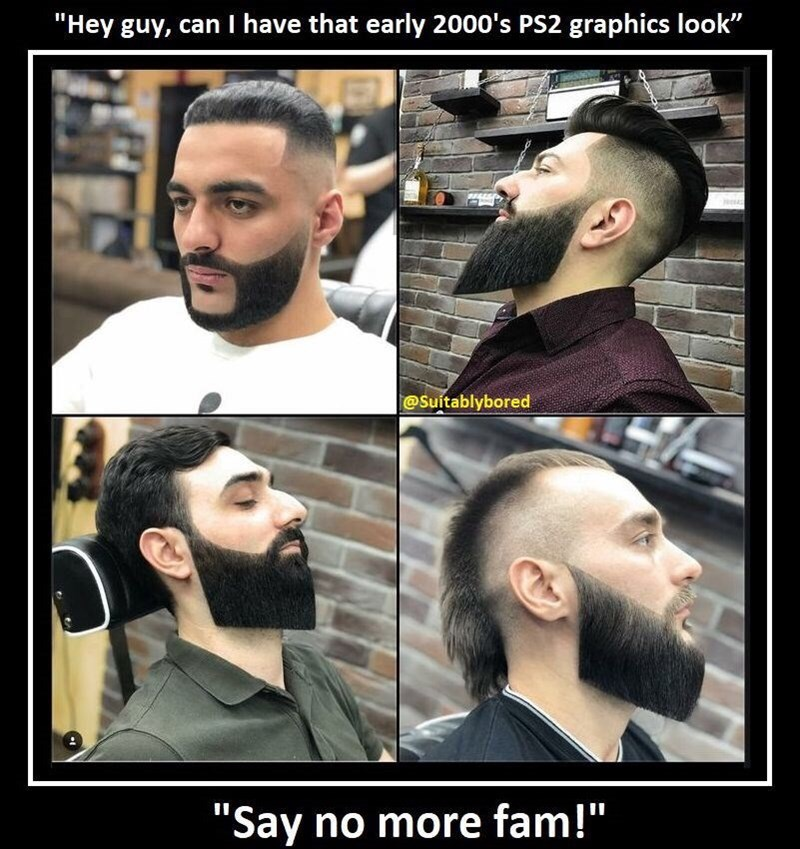 meme about barber giving men old school graphics haircuts and beards