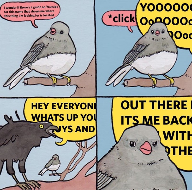 meme about looking up gaming tutorials on YouTube and getting annoyed by the obnoxious gamers