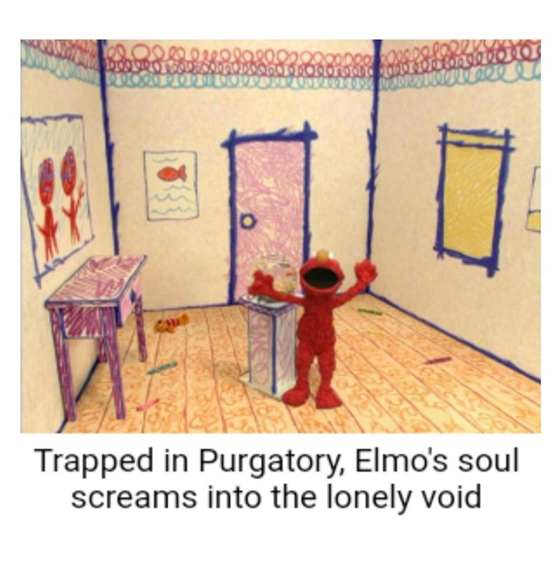 picture of Elmo standing in a cartoon room with caption describing the scene as him yelling into the void