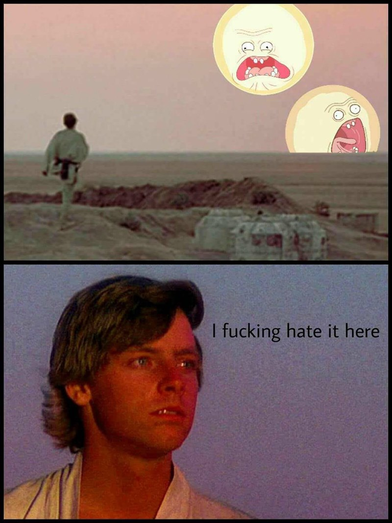 Luke Skywalker's home planet Tatooine except both of its suns are the screaming sun from Rick and Morty