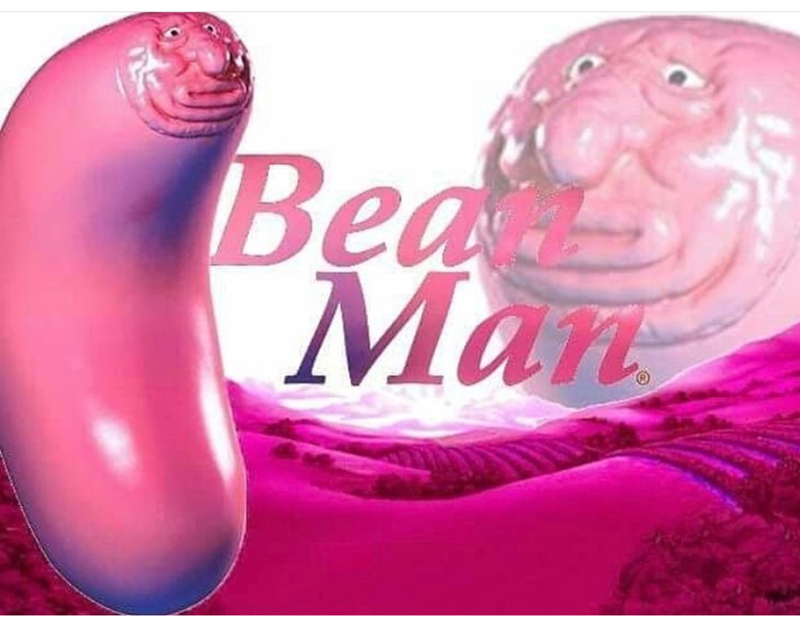 "3d rendering of pink bean with human face titles as ""bean man"""