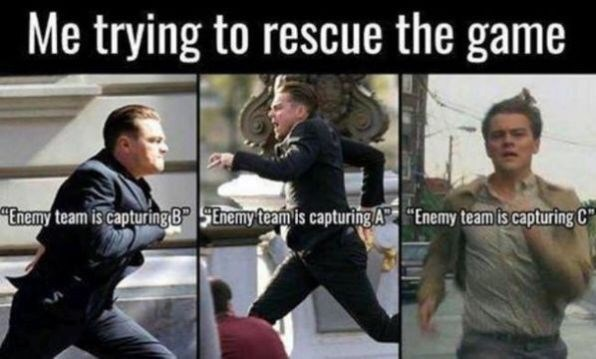 meme about trying to beat Battlefield game by yourself with various pictures of Leonardo DiCaprio running