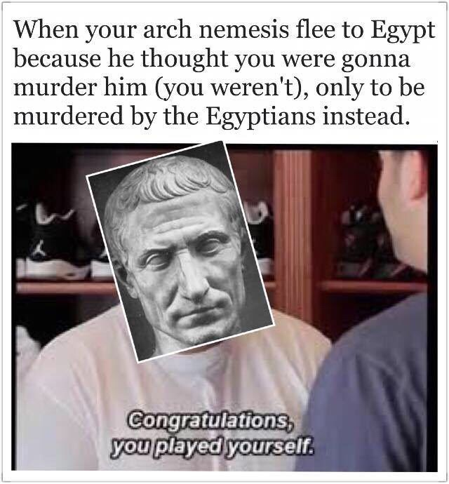ancient roman meme - Facial expression - When your arch nemesis flee to Egypt because he thought you were gonna murder him (you weren't), only to be murdered by the Egyptians instead Congratulations, you played yourself.