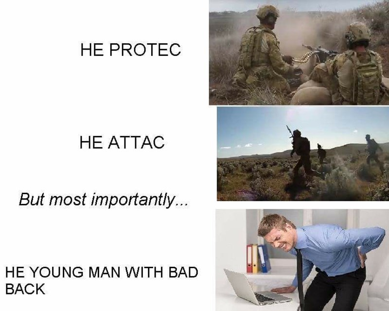 Adaptation - HE PROTEC HE ATTAC But most importantly... HE YOUNG MAN WITH BAD BACK