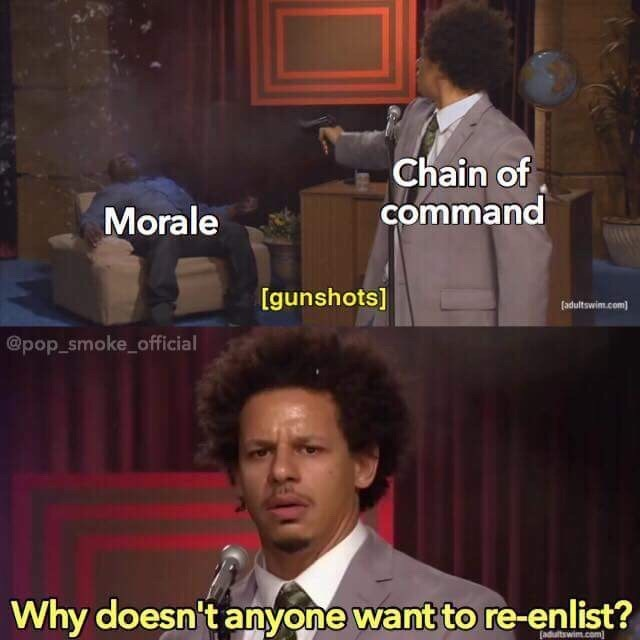 Photo caption - Chain of command Morale [gunshots] fadultswim.com @pop_smoke_official Why doesn't anyone want to re-enlist? (adultswim.com